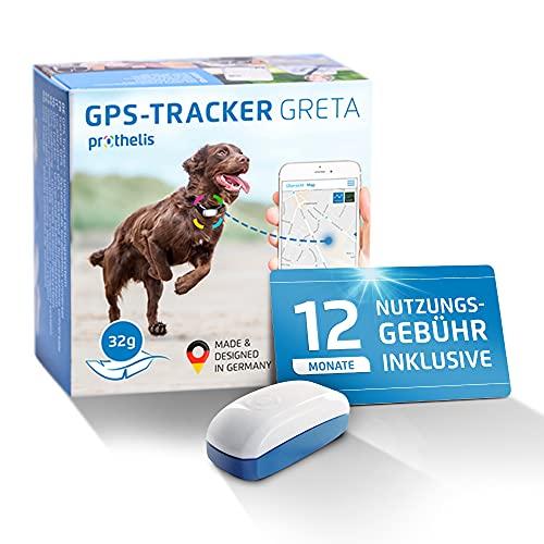 Prothelis Greta Hunde GPS Tracker Mini Peilsender mit App inklusive 12 Monate Nutzungsgebühr | Tracking GPS für Hunde mit Akku Laufzeit bis 5 Tage 32g leicht wasserdicht | GPS Tracker Hund klein
