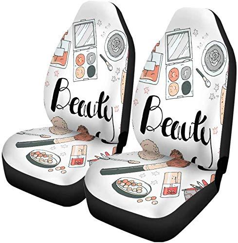 Set van 2 Autostoelhoezen Make-up Cosmetica Gereedschap En Schoonheidsproducten Gezichtslippenstift Oogschaduw Universele Auto Voorstoelen Beschermer