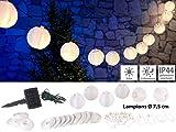 Lunartec Solar Lampionkette außen: Solar-LED-Lichterkette, warmweiß, mit 20 weißen Lampions, 3,8 m, IP44 (Lampion Lichterkette Strom)