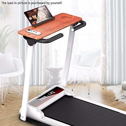 HSTD Indoor opvouwbare hardloopmachine met houten tafel om te werken tijdens de oefening in huis, lichtgewicht Loopband met 1,0-10 KM / H snelheid, 100 kg belasting