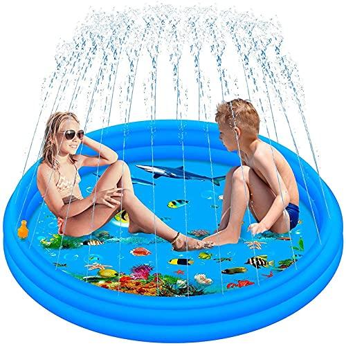 MWXFYWW Alfombrilla Inflable para Salpicaduras, Almohadilla de Agua para vadear Gruesa para Exteriores, Piscina de Juegos con rociadores de Verano Mejorada para niños en la Fiesta en el jardín