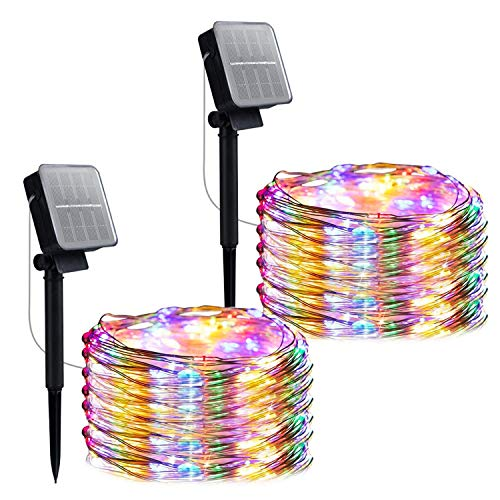 Christmas Outdoor Solar String Lights, 2 Pack 33 Feet 100 Led Solar Fairy Lights Waterproof Decoration Copper Wire Lights with 8 Modes for Indoor Outdoor Patio Yard Trees Party Decor(Multicolor)