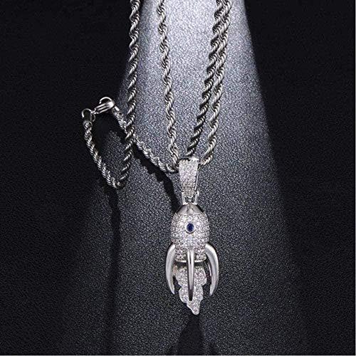 BACKZY MXJP Necklace Necklace Necklace Hip Hop Bling Iced out Cubic Zircon Cz Rocket Pendants Necklaces Men Jewelry Tennis Chain-Gold 6Mm Cuban Chain 24Inch(61Cm) Pendant Necklace For Women Men
