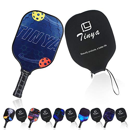 Tinya Graphite Pickleball Paddle: 8.08 Oz Black Pop Carbon Fiber Cool Graphic Best 3K Composite Large Lightweight Top Long Grip Professional Power Outdoor Rackets for Mens Women Kids Ladies Younth