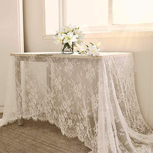 "QueenDream White Lace Tablecloth Kitchen Tablecloths for Rectangle Tables Size 60"" X 120"" for Party Banquet Dining Wedding Decorations"