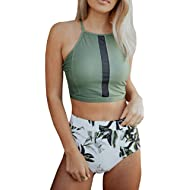 Women's 2 Piece Leaf Printed Halter Bikini Set High Waist Padded Bathing Suit Beach Swimwear