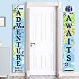 Adventure Awaits Bon Voyage Banner Garland Party Decoration Set Travel Themed Porch Sign Adventure for Indoor/Outdoor Retirement Moving Relocation Travel Wedding Bachelorette Party Decorations (Blue)