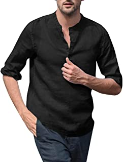 Gergeos Fashion Men's Linen Henry Shirts Solid Color Long Sleeve Stand Collar Casual T-Shirt M-XXXL