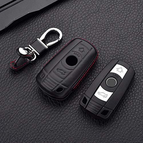 YKANZS Funda de Cuero con Funda para Llaves, para BMW 1 3 5 6 7 Series X1 X5 X6 E90 E92 E93 Smart Car Remote Controller Key Holder