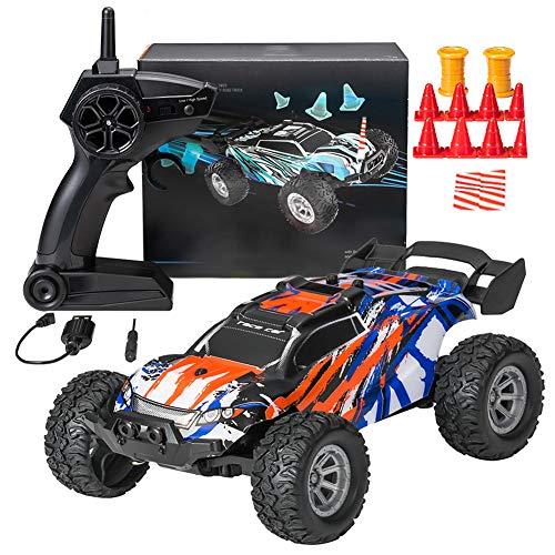 DreiWasser Ferngesteuertes Auto, Mini RC Offroad Spielauto 2WD 2,4GHz mit Fernbedienung, LED Licht (Orange)
