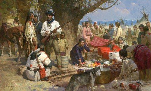 """Trading with the Blackfeet, Montana Territory, 1860"" - Z. S. Liang - Western Art (Masterwork Canvas Edition)"