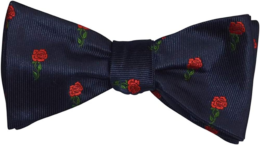 Mens Navy Red Roses Casual Formal Self-Tie Polyester Bow Tie Adjustable Length Bowtie