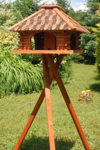 Luxus Vogelhaus Vogelhäuschen super Blickfang mit und ohne Ständer (braun, mit Ständer)
