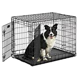 MidWest Ultima Pro Series 36' Dog Crate | Extra-Strong Double Door Folding Metal Dog Crate w/Divider Panel, Floor Protecting 'Roller Feet' & Leak-Proof Plastic Pan