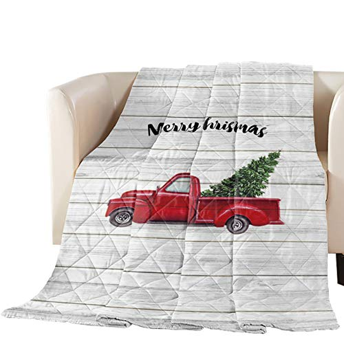 Bedspread Quilt King Size Merry Christmas Red Truck Pull Xmas Tree on Rustic Wood Grain All-Season Comforter Duvet Insert or Stand-Alone Comforter, Soft Coverlet Bed/Sofa Blanket for Adults Kids