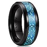 King Will - Alianza Aurora unisex de titanio negro brillante, diseño de dragón celta azul luminoso, 8 mm