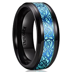 IDEA: Unique luminous ring, glow in the dark, made of safe and eco-friendly material. STEP: Take the ring in the sunlight or flashlight a few minutes(let it catch more light), it will bright a lot. Quality titanium with fabulous blue dragon pattern, ...