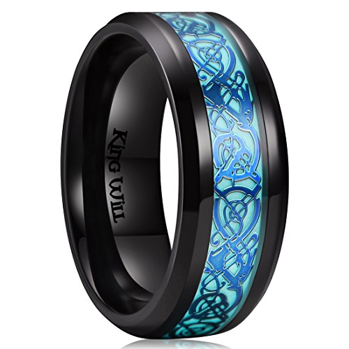 King Will Dragon 8mm Blue Celtic Dragon Luminou Glow Black Titanium Wedding Ring for Men Women 8