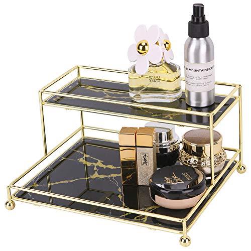 Simmer Stone Make-up-Organizer-Regal, 2-stöckiger Kosmetik-Aufbewahrungskorb mit Glasablage, Draht-Organizer für Badezimmer, Arbeitsplatte, Kommode und mehr, mittlere Größe