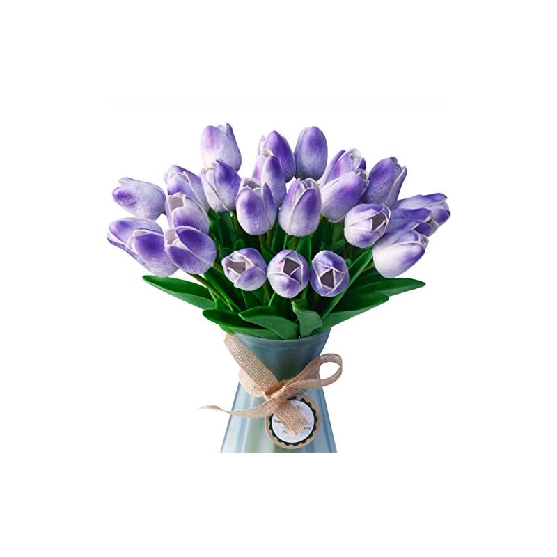 silk flower arrangements luyar 30 pcs artificial real touch tulips bouquet for home wedding party office decor, fake tulips flowers for mother wife girlfriend - faux flowers tulips for christmas & new year decor