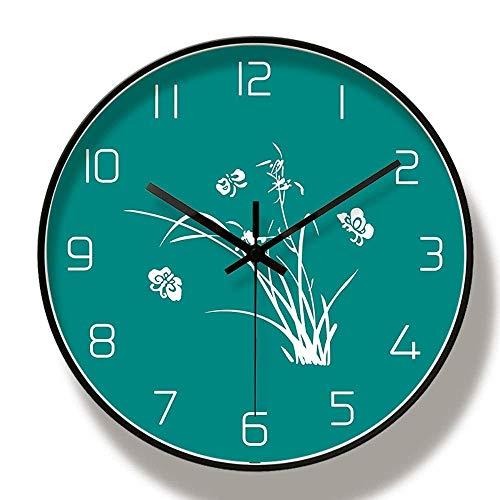 kyman Moda Minimalista Caja de Metal PVC Reloj de Cristal de Cristal Pantalla de Hierba Mariposa Fondo Verde patrón Redondo Ultra Tranquilo Sala de Estar Dormitorio Pared Reloj de Pared