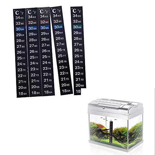 PEXWELL - Tira de termómetro, adhesivo adhesivo para cambio de temperatura de color, escala adhesiva para acuario de peces