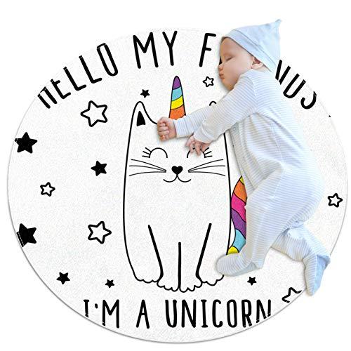 HDFGD Alfombra de suelo lavable circular para la cocina, dormitorio y sala de estar, divertido gato de dibujos animados unicornio estrellas arco iris