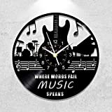 Music Vinyl Wall Clock Kinglive, Guitar Wall Clock 12 Inch - Vinyl Records Roll Music Party Room Decor Aesthetic Vintage - Unique Gift -Actual Lp Record is Used