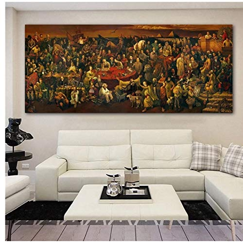 FACAIA Discussing Divine Comedy with Dante Famous Artwork Canvas Wall Art Pictures Print Poster For Living Room Decor - 50 x 150 cm Sem moldura