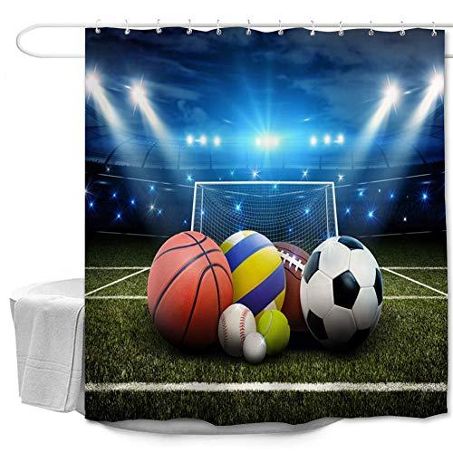 Oduo Duschvorhänge für Badewannen - 3D Ball Druck Duschvorhang Wasserdicht Antischimmel Bad Vorhang Waschbar Badewanne Vorhang mit 10 oder 12 Duschvorhangringe (Fußball Feld,180x200cm)