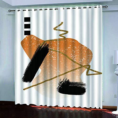 DRFQSK Cortinas Infantiles Impresión Digital Arte Creativo Amarillo Dorado. 3D Cortinas Opacas Termicas Aislantes Cortinas Dormitorio Moderno con Ollaos, 2 Paneles 234 X 230 Cm(An X Al)