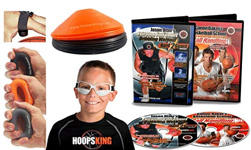 Basketball Dribbling Training Kit - Makes Great Gift for Your Favorite Player - Includes 2 Dribbling DVDs, Dribble Goggles, Cones, Hand Grippers, No Palm Aid