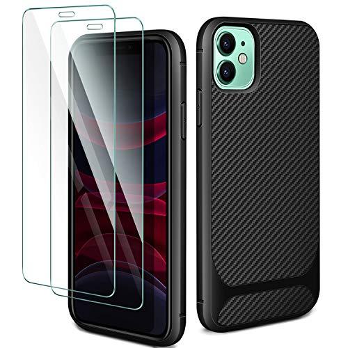 AROYI Cover Compatible for iPhone 11&[2 Pack] iPhone 11 Vetro Temperato,Cover iPhone 11 Custodia Silicone TPU Case Shock-Absorption Bumper e Anti-Scratch Back per Cover iPhone 11-Nero 6.1''