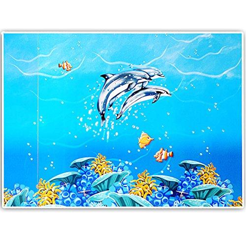 alles-meine.de GmbH Schreibtischunterlage / Unterlage -  Delfine & Fische - Unterwasserwelt  - 50 cm * 39 cm - abwaschbar - Tischunterlage / Knetunterlage / Bastelunterlage - a..