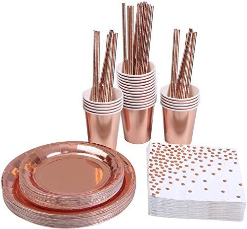 KAHEIGN 146 Piezas Oro Rosa Vajilla De Fiesta Desechable Papel Aluminio Platos Servilletas Tazas Pajitas Para Bodas, Aniversario, Cumpleaños Para 24 Invitados