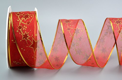 Deko Angels Nastro Decorativo Starway * Colore, Dimensioni * Nastro Regalo di Natale Trasparente Nastro Nastro in Tessuto Stelle Bordi Lucidi con Filo