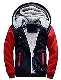 GEEK LIGHTING Mens Hoodies Heavyweight Fleece Zip Up Sweatcoats Thick Winter Jacket Navy/Red XL