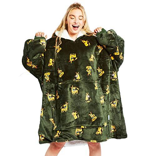 The Oodie Wearable Sherpa Blanket Hoodie - Cozy & Warm Oversized Fleece Hooded Blanket with Large Front Pocket - Thick Plush Blanket Sweatshirt for Men & Women (German Shepherd Oodie)
