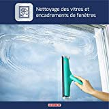 Leifheit Fensterwischer Window und Frame Cleaner L mit Rundum-Bezug, Fensterreiniger mit Abziehlippe, Fensterabzieher mit beweglichem Gelenk