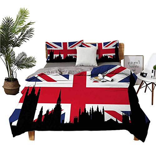 Satin Sheets Union Jack Bed Cover Houses of The Parliament Silhouette on UK Flag Historic Urban Skyline W90 xL90 Royal Blue Black Red