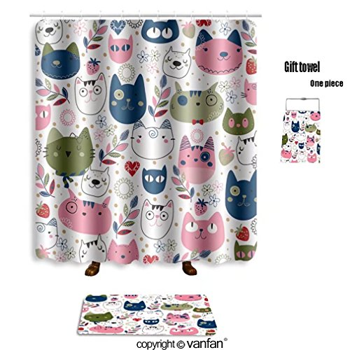 vanfan bath sets Polyester rugs shower curtain hand drawn kitty cat wallpaper illustration 2 shower curtains sets bathroom 60 x 72 inches&23.6 x 15.7 inches(Free 1 towel 12 hooks)