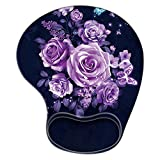 Purple Rose Mouse Pad with Wrist Support, Ergonomic Gaming Mousepad Non-Slip Soft Sensitive Material, Flower Mouse Pads for Wireless Mouse as Home Office Desktop Accessories or Ideal Gift