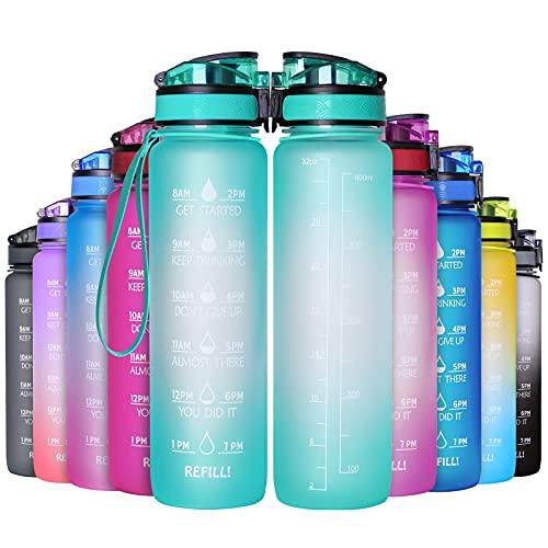 GeeRic Trinkflasche 1L Sport Wasserflasche BPA-freies Kohlensäure geeignet Wasserflasche für Uni, Sport, Fitness, Fahrrad, Outdoor
