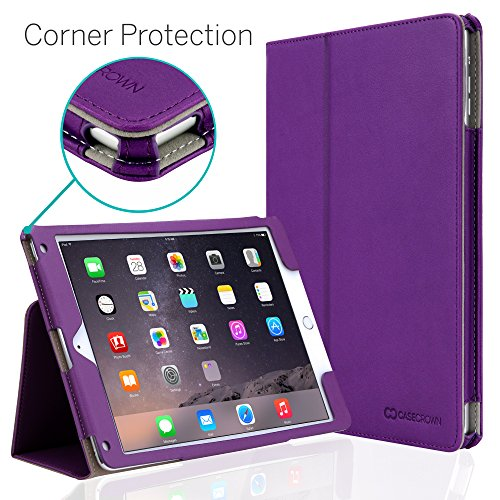 "iPad Air 2 9.7"" Case, [Corner Protection] CaseCrown Bold Standby Pro (Purple) with Sleep/Wake & Multi-Angle Viewing Stand"