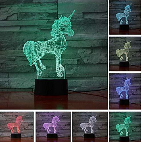 JJIEZZ Escultura de luz Nocturna 3D 7 Cambio de Color Lámpara de Escritorio de Mesa táctil/Control Remoto Decoración 05_7color Remoto_China