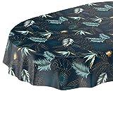 ANRO Tischdecke Wachstuch abwaschbar Wachstuchtischdecke Wachstischdecke Blätter Gold Blau Oval 180x140cm