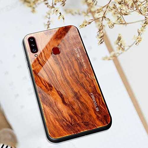 Kompatibel mit Samsung Galaxy A20S Hülle [Holz Muster], Ysimee Schutz 9H glattes Glas Rückseite & Matt Silikon Bumper Farbverlauf Farbe Schutzhülle Kratzfeste Stoßfeste HandyHülle - Holz -6