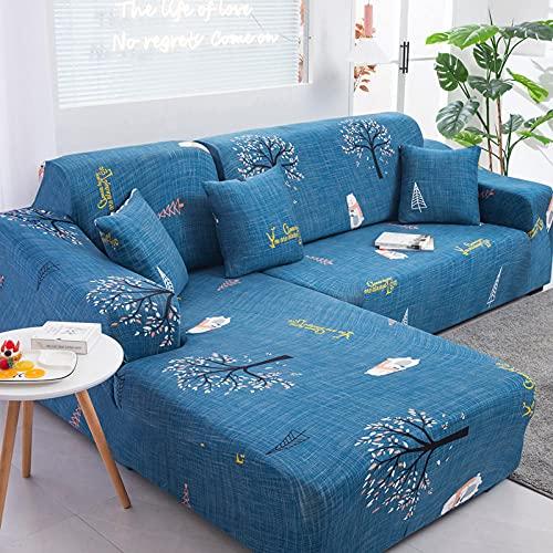 Funda Sofa 1 Plaza Árbol De La Suerte Fundas para Sofa con Diseño Elegante Universal,Cubre Sofa Ajustables,Fundas Sofa Elasticas,Funda de Sofa Chaise Longue,Protector Cubierta para Sofá