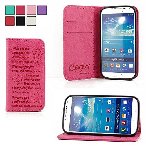 COOVY® Cover für Samsung Galaxy S4 GT-i9500 GT-i9505 GT-i9506 Case Wallet Schutz Etui mit Kartenfach, Standfunktion + Schutzfolie - Design Smile | Farbe hotpink