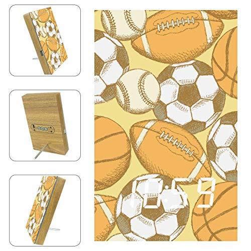 TIZORAX Wecker, Fußball, American Football, Baseball und Basketball, digitale LED-Uhr, für Büro, Küche, Wohnzimmer, Schlafzimmer, Schreibtisch, mit USB-Ladefunktion
